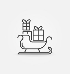 christmas sledge with presents icon in vector image