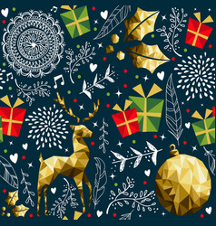 christmas vintage holiday background pattern vector image