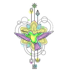 Colibri Watercolor Tattoo vector