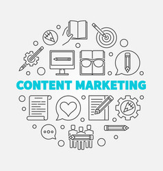 content marketing round linear vector image