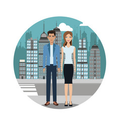 Couple lifestyle together urban background vector