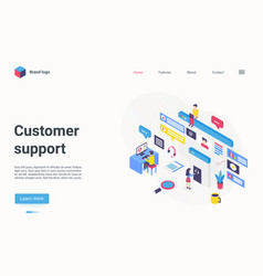 customer support hotline center concept isometric vector image
