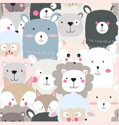 Cute animal face seamless pattern vector