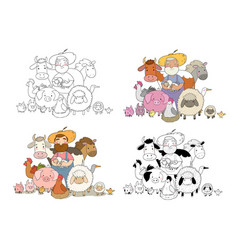 cute cartoon farmer and animals country man and vector image