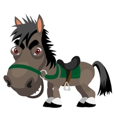 Dark sly stallion cartoon funny character vector