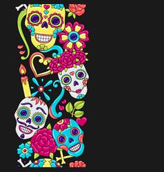 Day dead seamless pattern sugar skulls vector