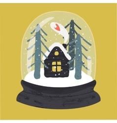 Decorative of handdrawn snow globe vector image