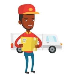 Delivery courier carrying cardboard boxes vector image