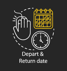 depart and return date chalk icon travel vector image