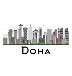 Doha qatar skyline with gray buildings isolated vector