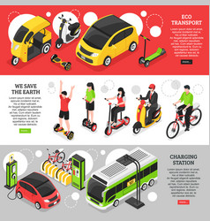 Eco transport isometric horizontal banners vector