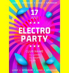Electronic music festival poster design rainbow vector
