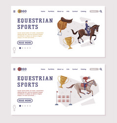 equestrian sports landing page templates set vector image