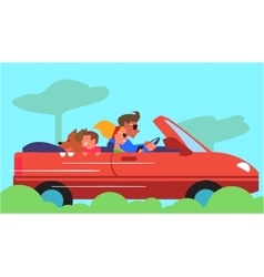 Family Car Traveling Flat Design Concept vector