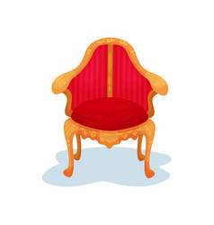 flat icon of antique wooden chair with vector image