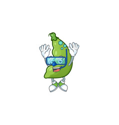 Funny broad beans mascot design with diving vector