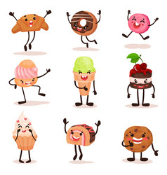 funny humanized desserts cartoon characters set vector image