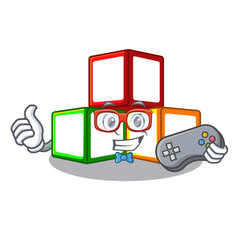 gamer wooden toy with character wooden blocks vector image