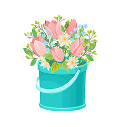Garden flowers arranged in carton box vector
