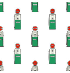gas station pump seamless design vintage hand vector image