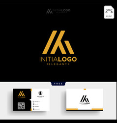Gold luxury and premium initial m or km logo vector
