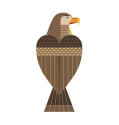 Golden eagle bird geometric icon in flat vector