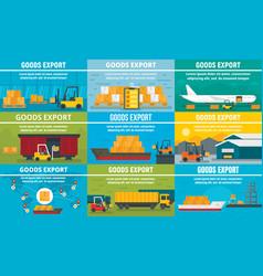goods export banner set flat style vector image