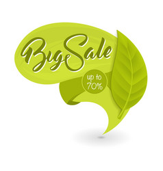 Green eco tag with inscription big sale vector