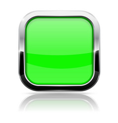 Green square button with chrome frame glass 3d vector