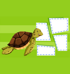 green turtle on note template vector image