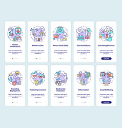 Greenhouse gas emissions onboarding mobile app vector