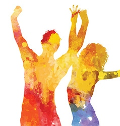 grunge party people with watercolour design 1405 vector image