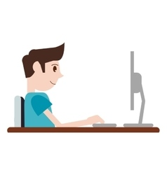 Guy working space with desk laptop vector