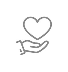 Hand with big heart giving a love line icon vector