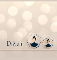 Happy diwali minimal style bokeh background design vector