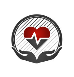 Heart care concept cardio vascular hands holding vector