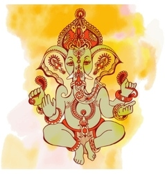 hindu lord ganesha ornate sketch drawing on vector image