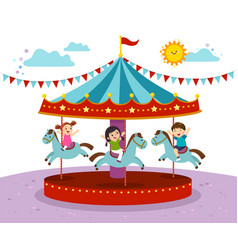 kids playing on merry go round vector image