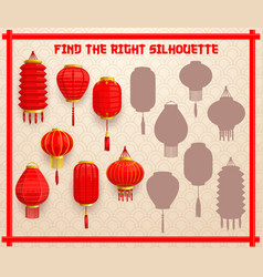 Kids shadow matching riddle with chinese lanterns vector