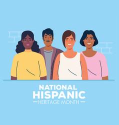 Latin women and man cartoons national hispanic vector
