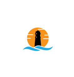 lighthouse on island in middle sea vector image