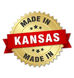 made in Kansas gold badge with red ribbon vector image