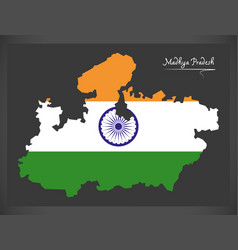 Madhya pradesh map with indian national flag vector