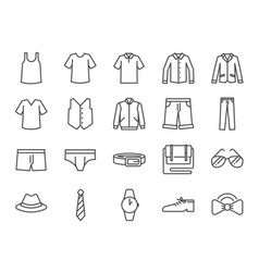 Men clothes icon set vector
