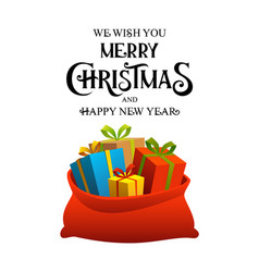 merry christmas happy new year poster with bag of vector image