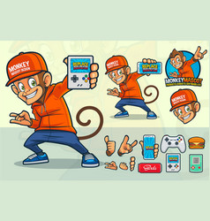 Monkey mascot design for video game store vector