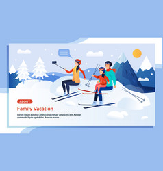 Mountaineering family winter vacation promo poster vector