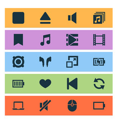 Music icons set collection of start song list vector