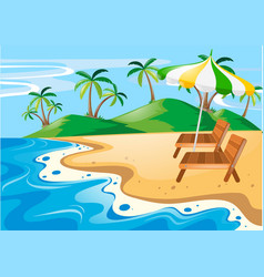 nature scene with seats on the beach vector image