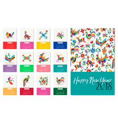 New year 2018 colorful mexican animal art calendar vector